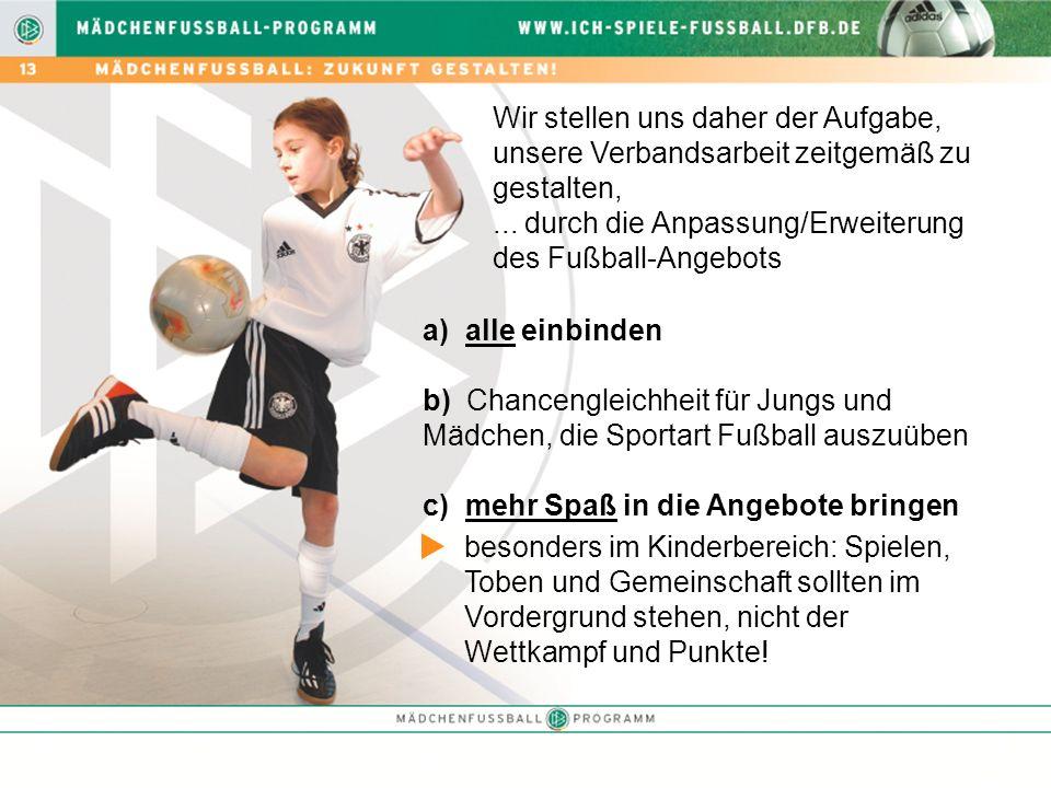 Wir stellen uns daher der Aufgabe, unsere Verbandsarbeit zeitgemäß zu gestalten,... durch die Anpassung/Erweiterung des Fußball-Angebots a) alle einbi