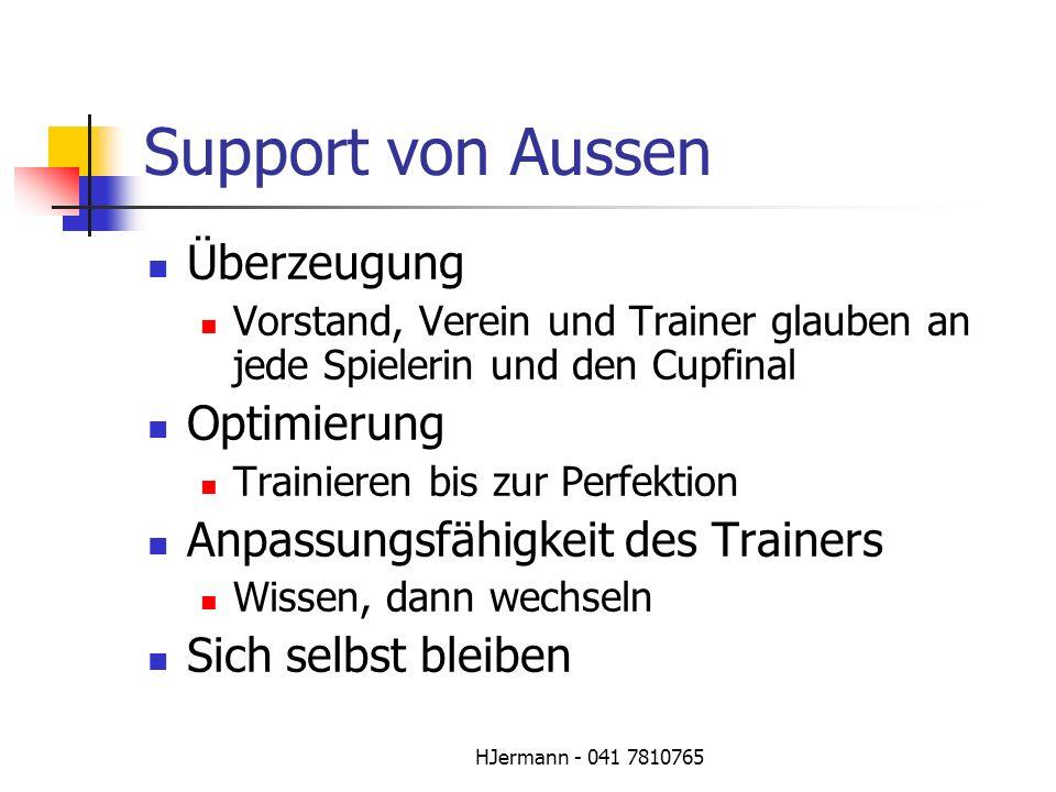 HJermann - 041 7810765 Support von Aussen Überzeugung Vorstand, Verein und Trainer glauben an jede Spielerin und den Cupfinal Optimierung Trainieren b