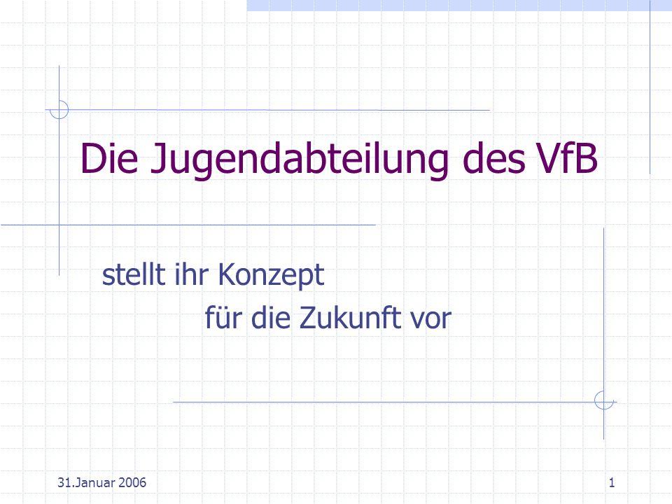 31.Januar 20061 Die Jugendabteilung des VfB stellt ihr Konzept für die Zukunft vor