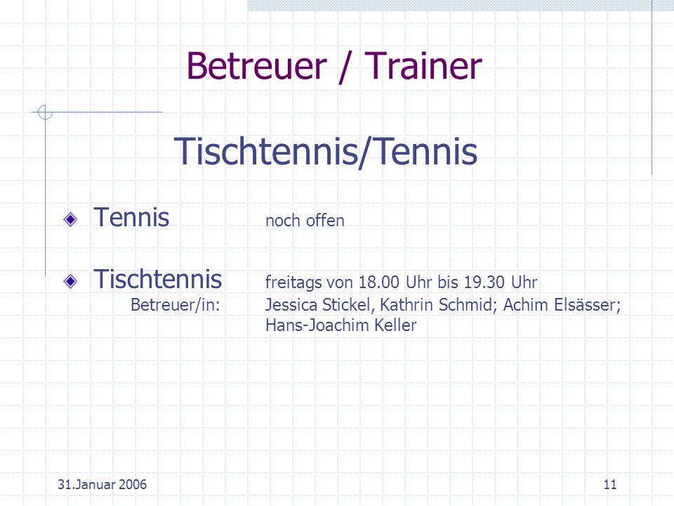 31.Januar 200611 Betreuer / Trainer Tennis noch offen Tischtennis freitags von 18.00 Uhr bis 19.30 Uhr Betreuer/in:Jessica Stickel, Kathrin Schmid; Achim Elsässer; Hans-Joachim Keller Tischtennis/Tennis