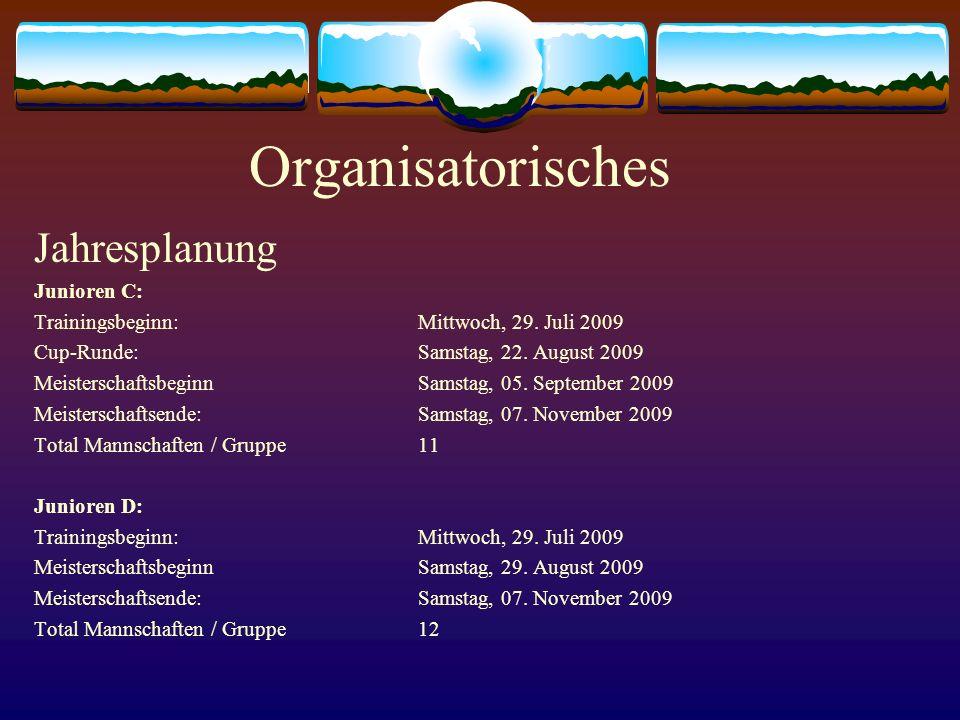 Organisatorisches Jahresplanung Junioren C: Trainingsbeginn:Mittwoch, 29. Juli 2009 Cup-Runde:Samstag, 22. August 2009 MeisterschaftsbeginnSamstag, 05
