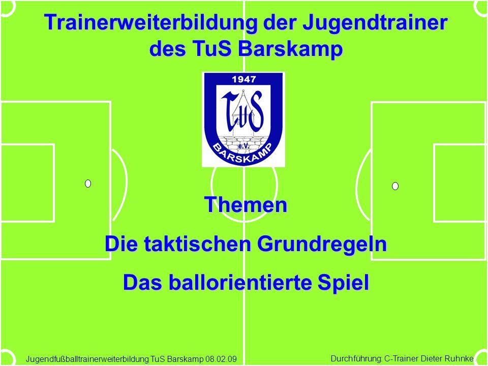 Durchführung: C-Trainer Dieter Ruhnke Jugendfußballtrainerweiterbildung TuS Barskamp 08.02.09 Trainerweiterbildung der Jugendtrainer des TuS Barskamp