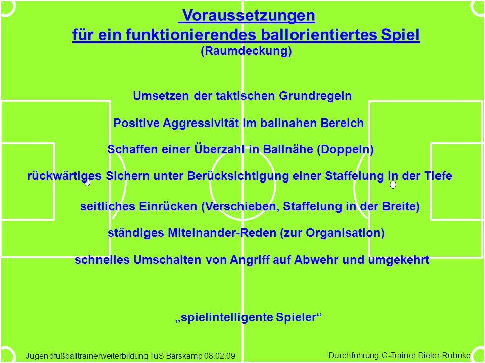 Durchführung: C-Trainer Dieter Ruhnke Jugendfußballtrainerweiterbildung TuS Barskamp 08.02.09 Voraussetzungen für ein funktionierendes ballorientierte
