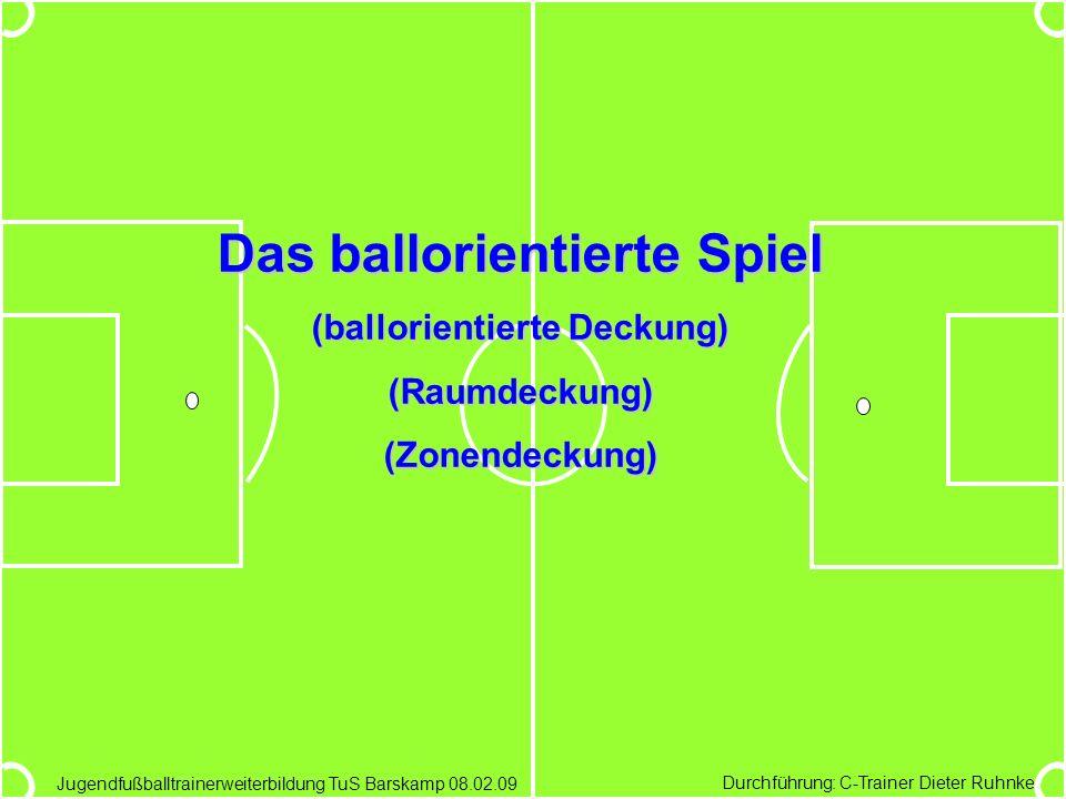 Durchführung: C-Trainer Dieter Ruhnke Jugendfußballtrainerweiterbildung TuS Barskamp 08.02.09 Das ballorientierte Spiel (ballorientierte Deckung) (Rau