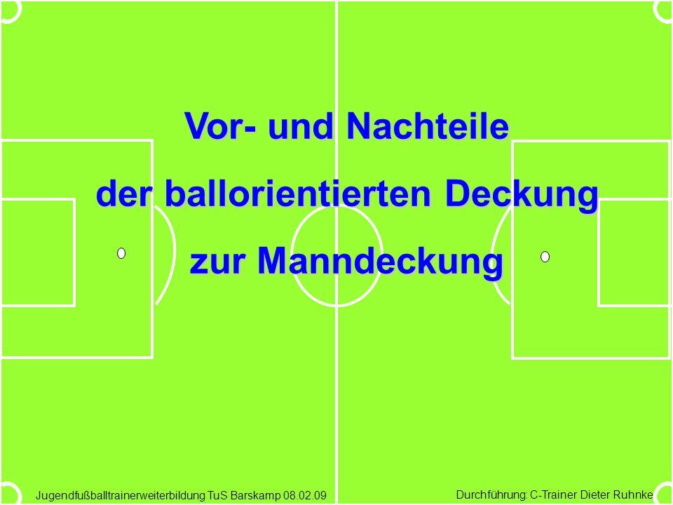 Durchführung: C-Trainer Dieter Ruhnke Jugendfußballtrainerweiterbildung TuS Barskamp 08.02.09 Vor- und Nachteile der ballorientierten Deckung zur Mann