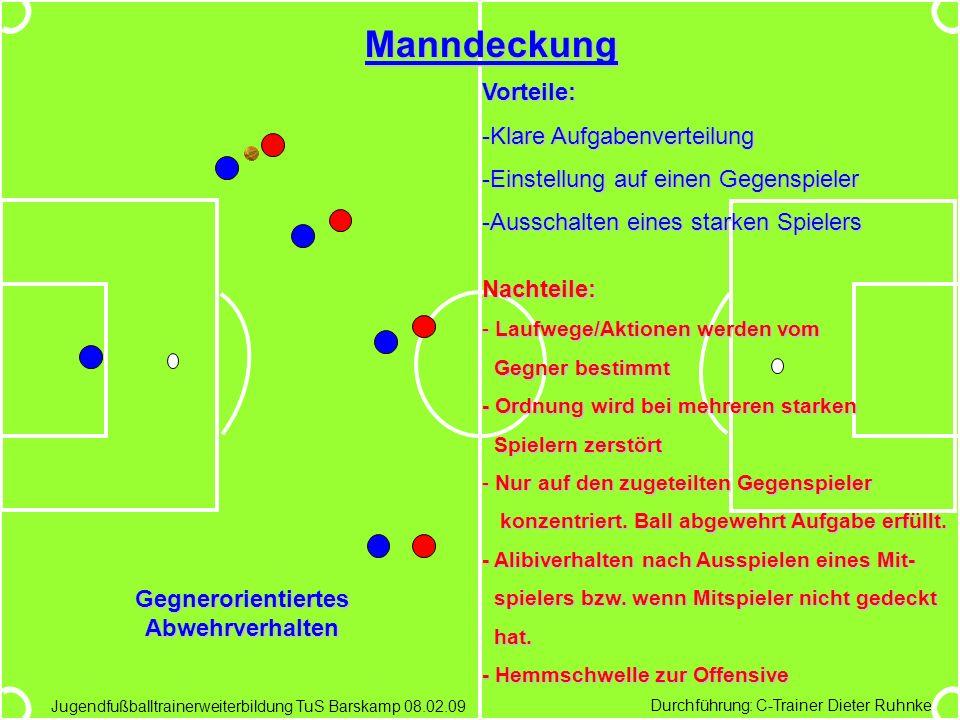 Durchführung: C-Trainer Dieter Ruhnke Jugendfußballtrainerweiterbildung TuS Barskamp 08.02.09 Manndeckung Vorteile: -Klare Aufgabenverteilung -Einstel