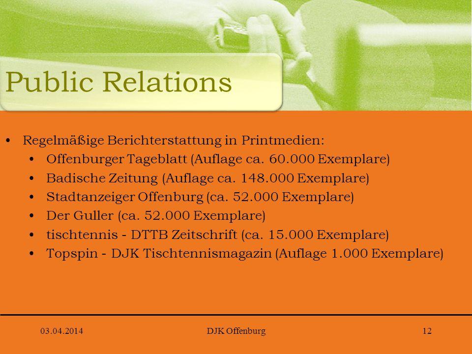 Public Relations Regelmäßige Berichterstattung in Printmedien: Offenburger Tageblatt (Auflage ca. 60.000 Exemplare) Badische Zeitung (Auflage ca. 148.