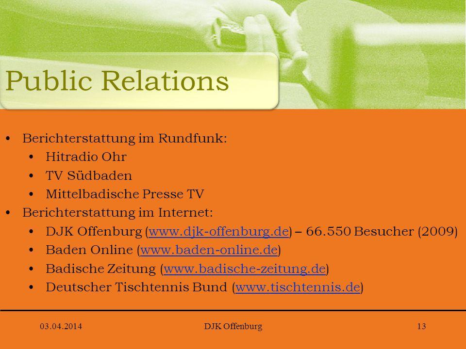 Public Relations Berichterstattung im Rundfunk: Hitradio Ohr TV Südbaden Mittelbadische Presse TV Berichterstattung im Internet: DJK Offenburg (www.dj