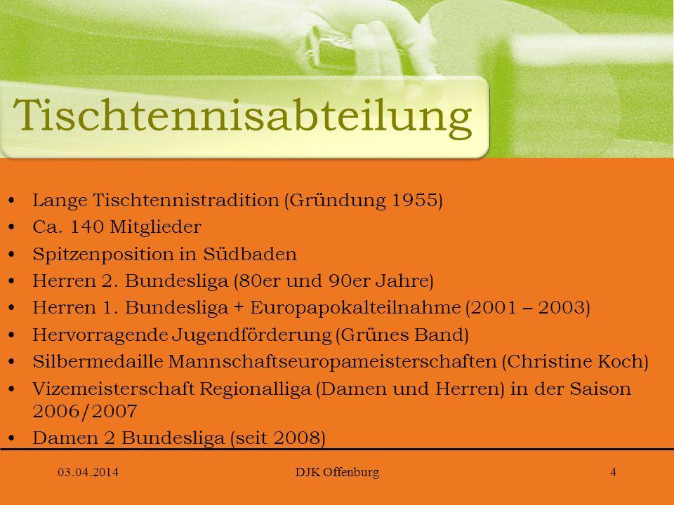 03.04.2014DJK Offenburg4 Lange Tischtennistradition (Gründung 1955) Ca. 140 Mitglieder Spitzenposition in Südbaden Herren 2. Bundesliga (80er und 90er