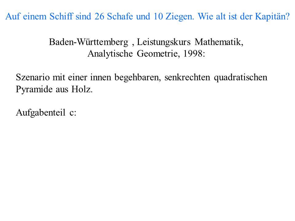 Baden-Württemberg, Leistungskurs Mathematik, Analytische Geometrie, 1998: Szenario mit einer innen begehbaren, senkrechten quadratischen Pyramide aus