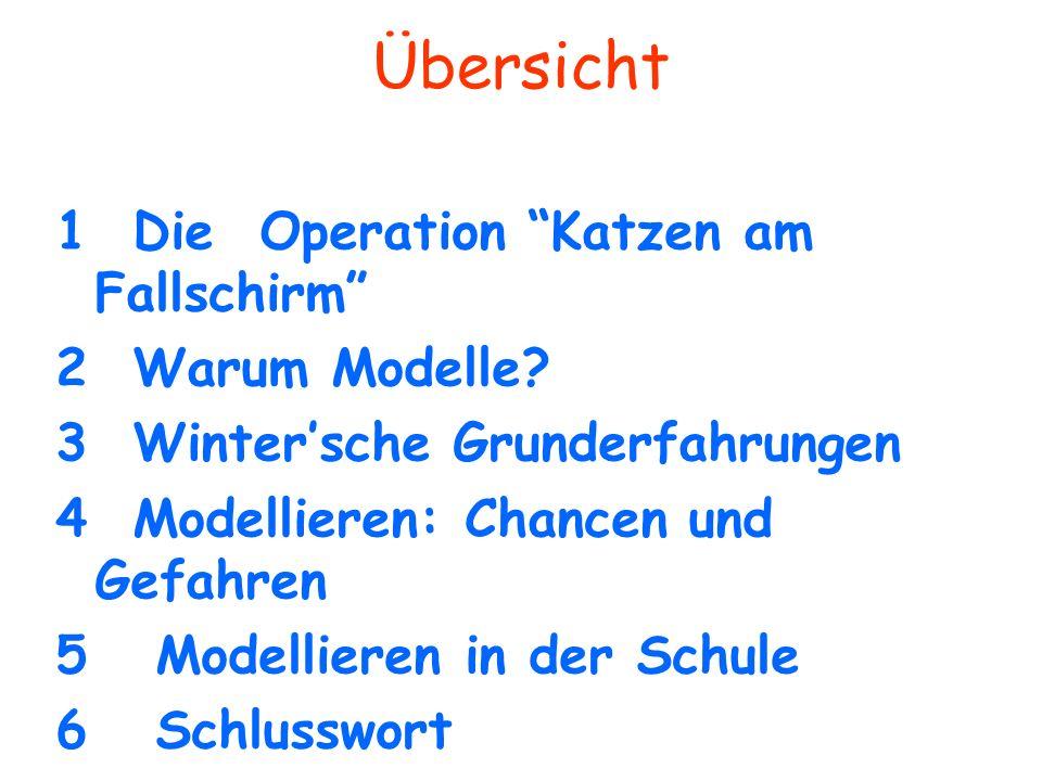 Übersicht 1 Die Operation Katzen am Fallschirm 2 Warum Modelle? 3 Wintersche Grunderfahrungen 4 Modellieren: Chancen und Gefahren 5 Modellieren in der