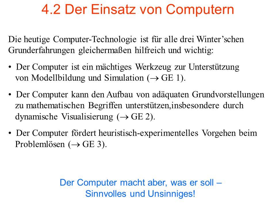 4.2 Der Einsatz von Computern Die heutige Computer-Technologie ist für alle drei Winterschen Grunderfahrungen gleichermaßen hilfreich und wichtig: Der