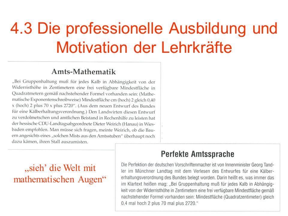 4.3 Die professionelle Ausbildung und Motivation der Lehrkräfte sieh die Welt mit mathematischen Augen