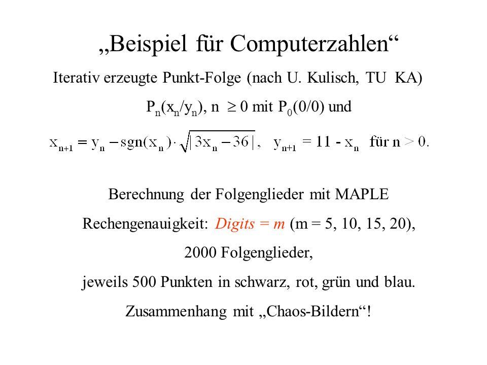 Beispiel für Computerzahlen Iterativ erzeugte Punkt-Folge (nach U. Kulisch, TU KA) P n (x n /y n ), n 0 mit P 0 (0/0) und Berechnung der Folgenglieder