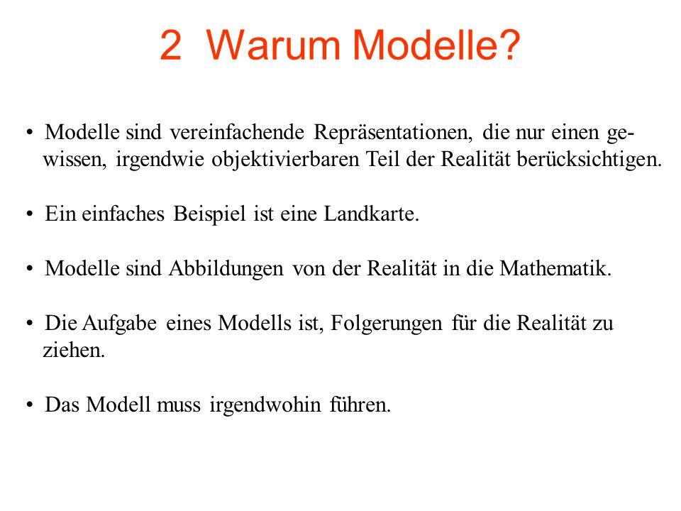 2 Warum Modelle? Modelle sind vereinfachende Repräsentationen, die nur einen ge- wissen, irgendwie objektivierbaren Teil der Realität berücksichtigen.
