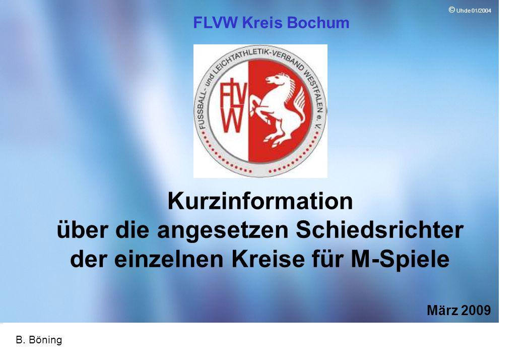 Page 1 ID10 1 © Uhde 01/2004 Kurzinformation über die angesetzen Schiedsrichter der einzelnen Kreise für M-Spiele März 2009 FLVW Kreis Bochum B.