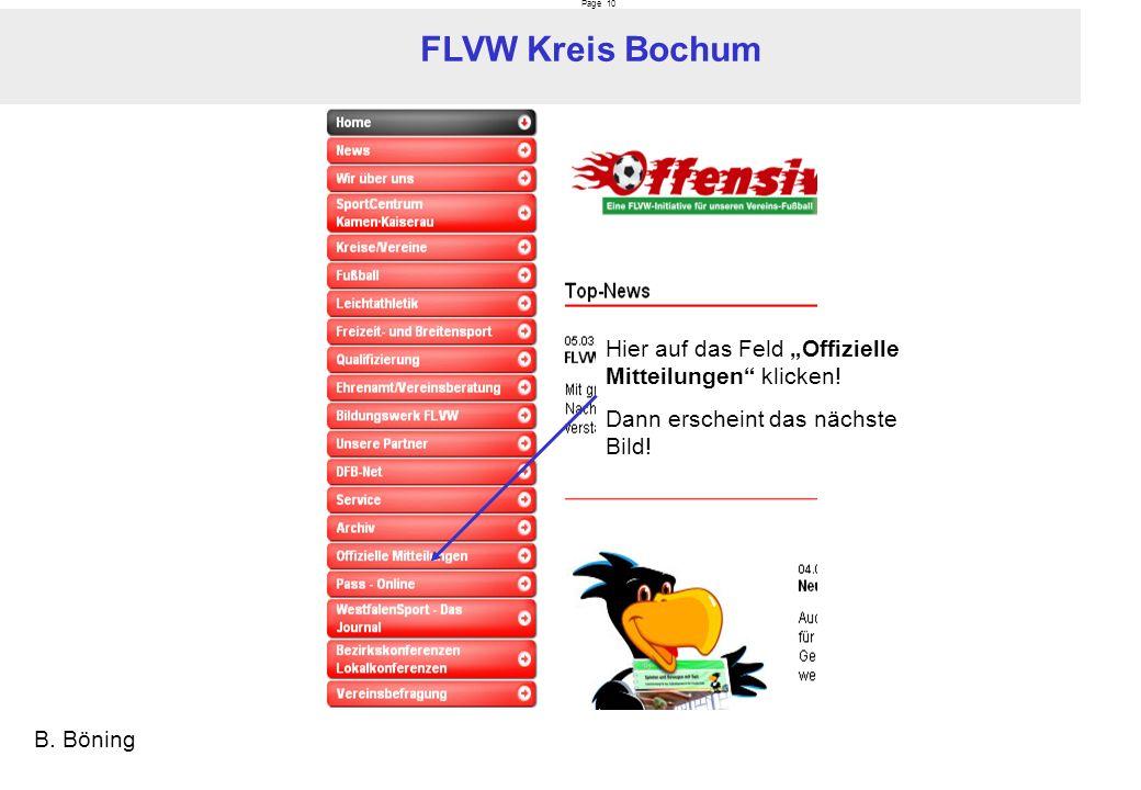Page 10 FLVW Kreis Bochum B.Böning Hier auf das Feld Offizielle Mitteilungen klicken.