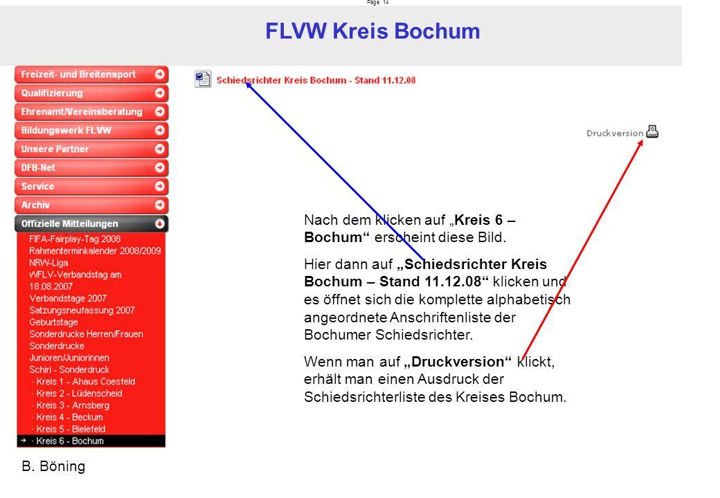 Page 14 FLVW Kreis Bochum B. Böning Nach dem klicken auf Kreis 6 – Bochum erscheint diese Bild. Hier dann auf Schiedsrichter Kreis Bochum – Stand 11.1