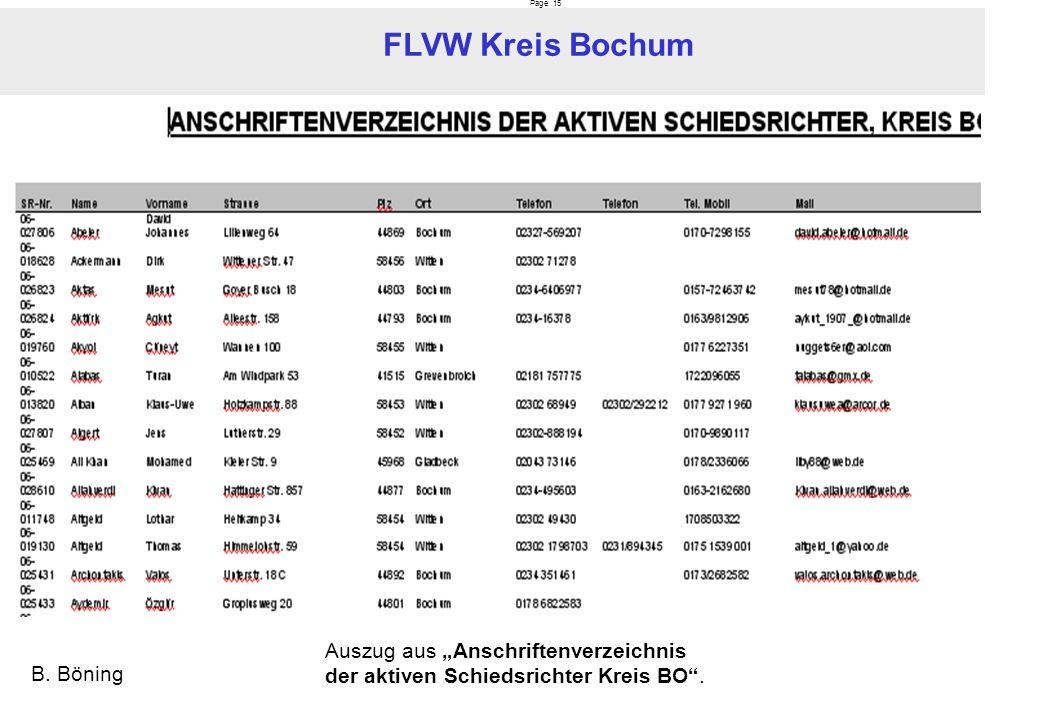 Page 15 FLVW Kreis Bochum B. Böning Auszug aus Anschriftenverzeichnis der aktiven Schiedsrichter Kreis BO.