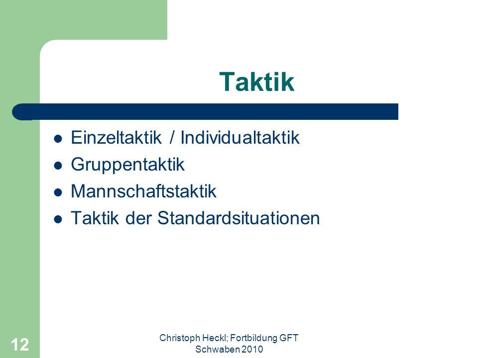 Christoph Heckl; Fortbildung GFT Schwaben 2010 11 Taktik Das planmäßige, erfolgsorientierte, auf die eigene und die gegnerische Leistungsfähigkeit und