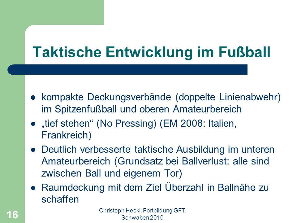 Christoph Heckl; Fortbildung GFT Schwaben 2010 15 Das heißt... Wir brauchen Spieler, die kreativ sind, Spielwitz haben, spontan sind, Handlungsschnell
