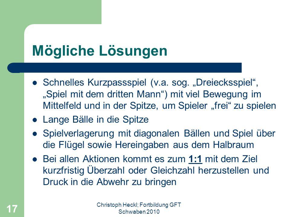 Christoph Heckl; Fortbildung GFT Schwaben 2010 16 Taktische Entwicklung im Fußball kompakte Deckungsverbände (doppelte Linienabwehr) im Spitzenfußball