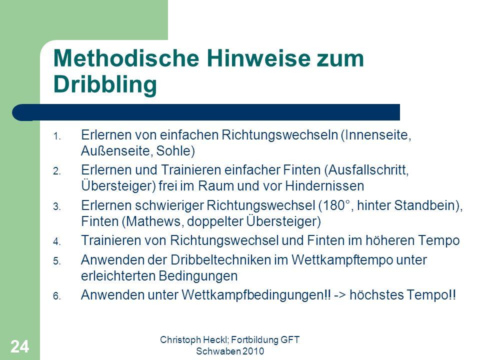 Christoph Heckl; Fortbildung GFT Schwaben 2010 23 1:1 in der Offensive Ballsicherung -( keine Abspielmöglichkeit), da -Mitspieler gedeckt -Mitspieler