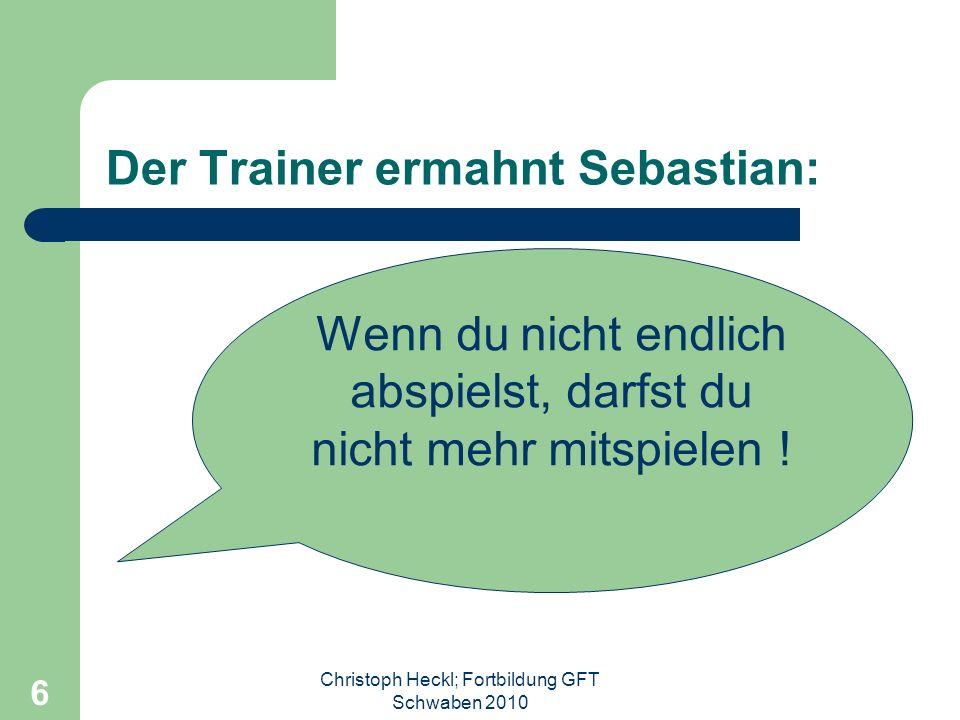 Christoph Heckl; Fortbildung GFT Schwaben 2010 5... Irgendwo auf einem Fußballplatz in Deutschland Samstag 11.00 Uhr – Spiel der E-Jugend... Der klein