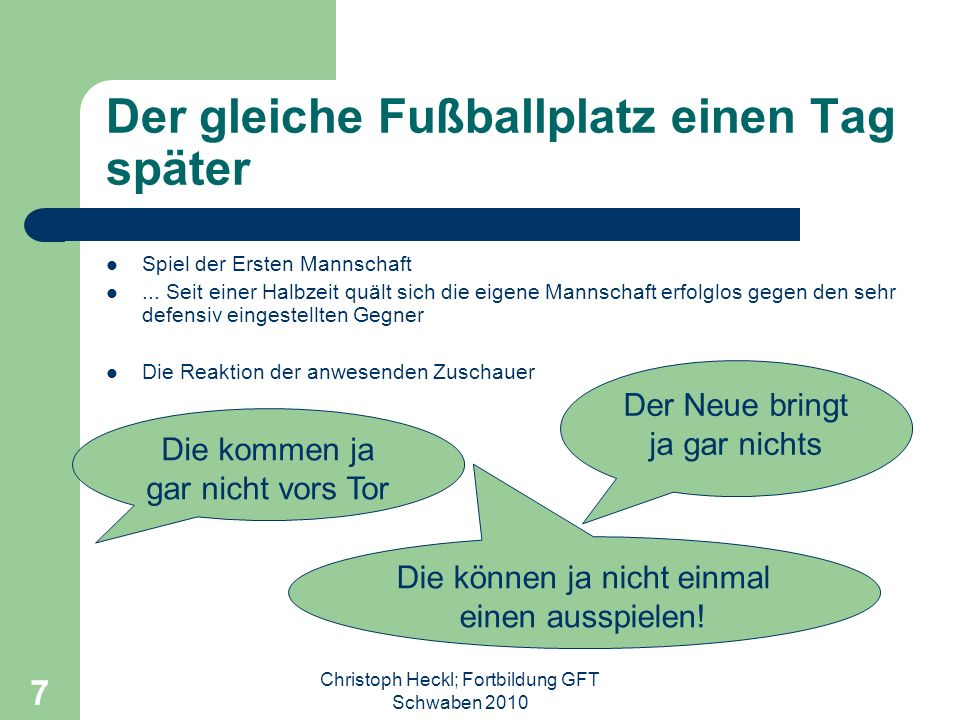 Christoph Heckl; Fortbildung GFT Schwaben 2010 7 Der gleiche Fußballplatz einen Tag später Spiel der Ersten Mannschaft...