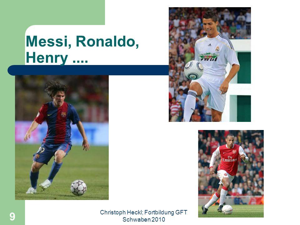 Christoph Heckl; Fortbildung GFT Schwaben 2010 8... Und am Abend erfreut man sich an Özil, Ribery, Robben, van Nistelroy den trickreichen Spielern in