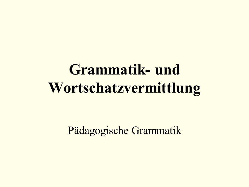 Grammatik- und Wortschatzvermittlung Pädagogische Grammatik