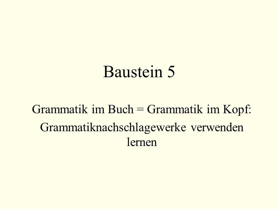 Baustein 5 Grammatik im Buch = Grammatik im Kopf: Grammatiknachschlagewerke verwenden lernen