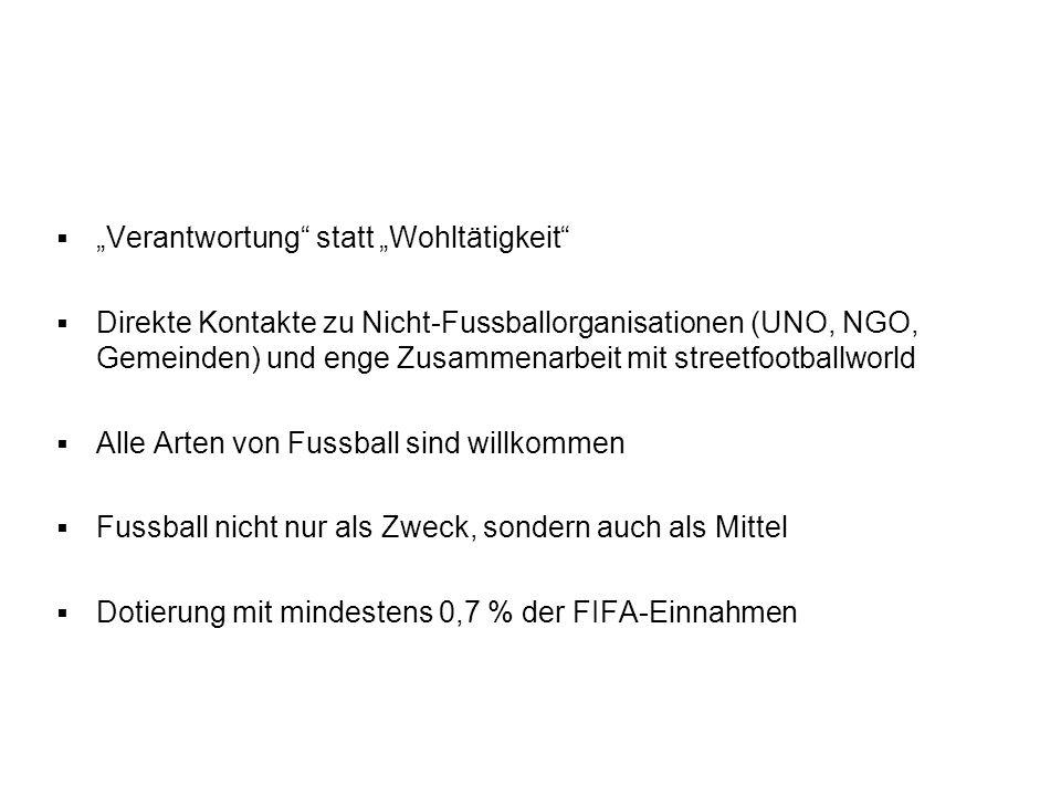 Besondere Merkmale von Football for Hope Verantwortung statt Wohltätigkeit Direkte Kontakte zu Nicht-Fussballorganisationen (UNO, NGO, Gemeinden) und enge Zusammenarbeit mit streetfootballworld Alle Arten von Fussball sind willkommen Fussball nicht nur als Zweck, sondern auch als Mittel Dotierung mit mindestens 0,7 % der FIFA-Einnahmen