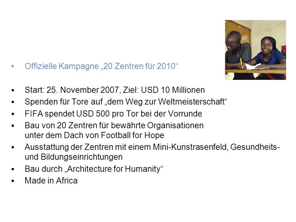 Soziale Aktionen für 2010 Football-for-Hope-Festival Offizielle Veranstaltung der FIFA Fussball-Weltmeisterschaft 2010 3.–10.