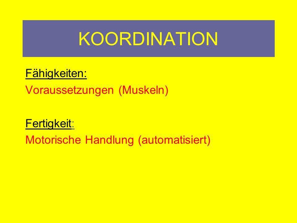 Koordination Allgemeines Koordinationstraining Lauf A/B/C –vw/rw, Sprung, Stütz, Sitz (ÖFB DVD) Augen schließen,….