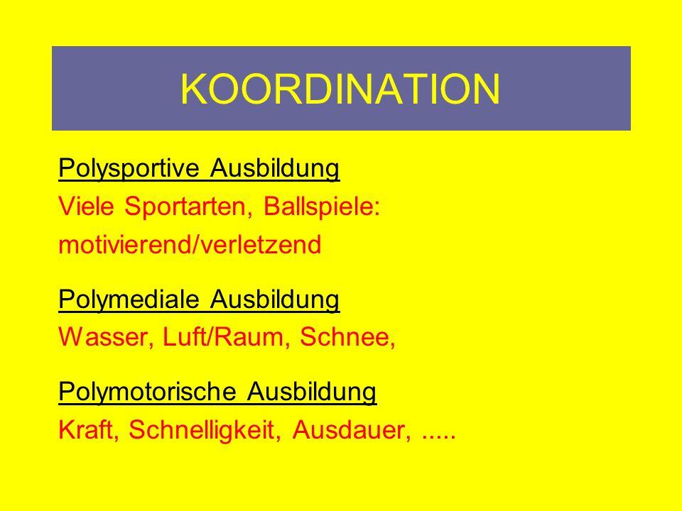 KOORDINATION Fähigkeiten: Voraussetzungen (Muskeln) Fertigkeit: Motorische Handlung (automatisiert)