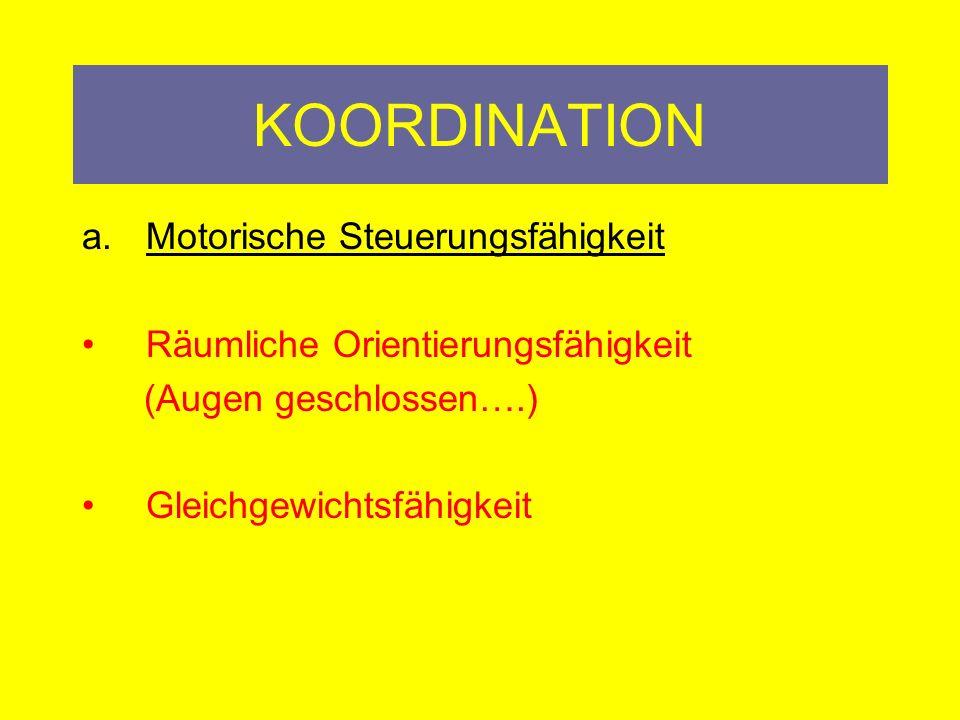 KOORDINATION Grundsätze des Sportartenkoordinationstraining Komponenten/Theorie: a.