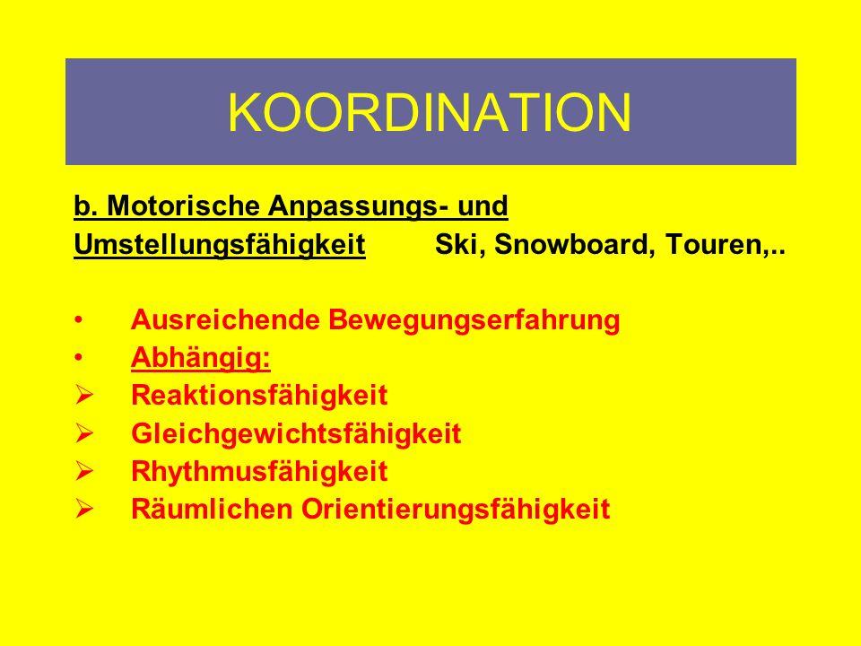KOORDINATION a.Motorische Steuerungsfähigkeit Räumliche Orientierungsfähigkeit (Augen geschlossen….) Gleichgewichtsfähigkeit
