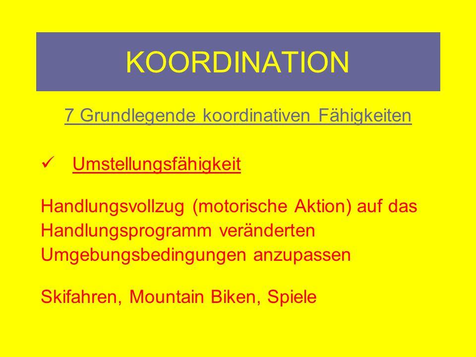 KOORDINATION 7 Grundlegende koordinativen Fähigkeiten Gleichgewichtsfähigkeit Zu halten, beizubehalten, wiederherzustellen Seiltanzen, Wippe, MFT, Stelzen, Eislaufen, Einradfahren