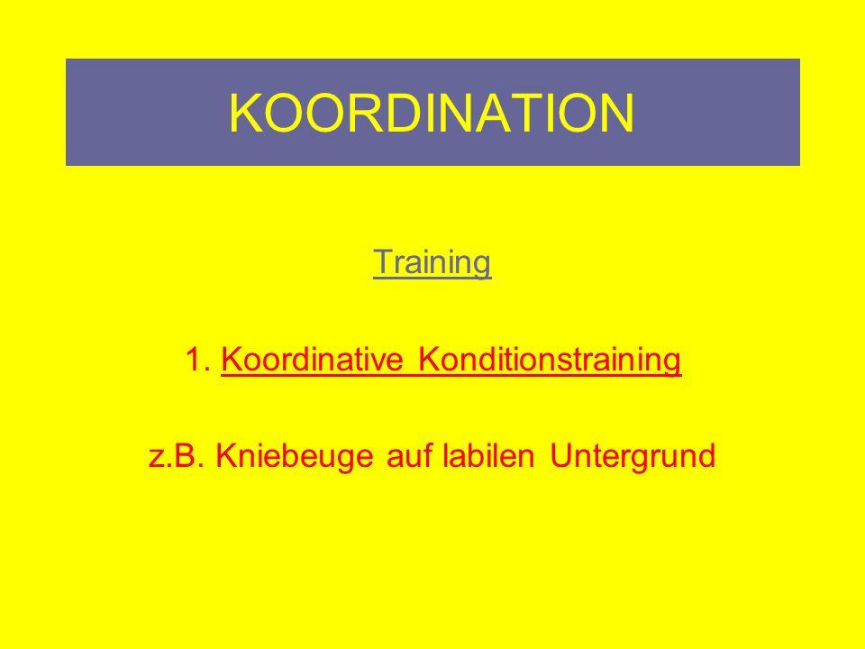 KOORDINATION 7 Grundlegende koordinativen Fähigkeiten Rhythmisierung Zu erfassen und motorisch umzusetzen Step Aerobic, Rope Skipping, Aerobic,