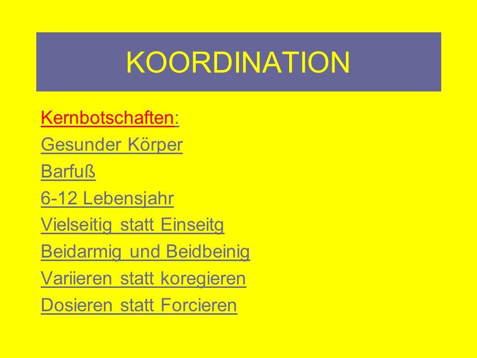KOORDINATION Training 1. Koordinative Konditionstraining z.B. Kniebeuge auf labilen Untergrund