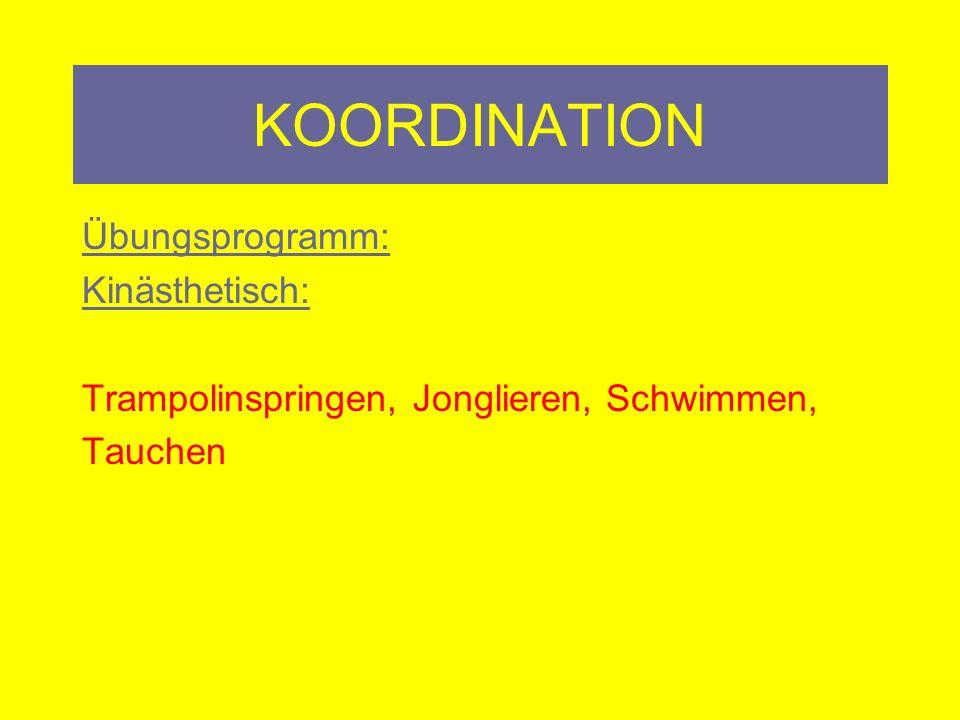 KOORDINATION Übungsprogramm: Sensomotorik: Ballspiele, Tennis, Badminton, Volleyball, Basketball, Fußball (weiche Bälle, keine Stoppelschuhe), Tischtennis, Jonglieren (Bein- Arme),