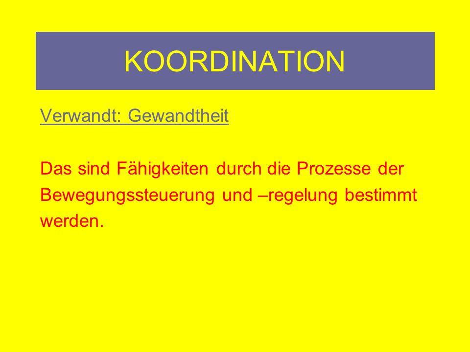 KOORDINATION Übungsprogramm: Kinästhetisch: Trampolinspringen, Jonglieren, Schwimmen, Tauchen