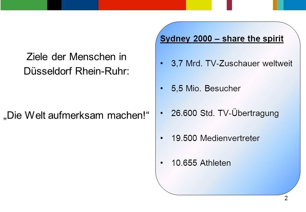 2 Ziele der Menschen in Düsseldorf Rhein-Ruhr: Die Welt aufmerksam machen.