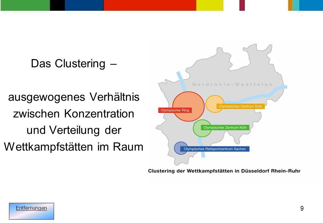 9 Das Clustering – ausgewogenes Verhältnis zwischen Konzentration und Verteilung der Wettkampfstätten im Raum Entfernungen