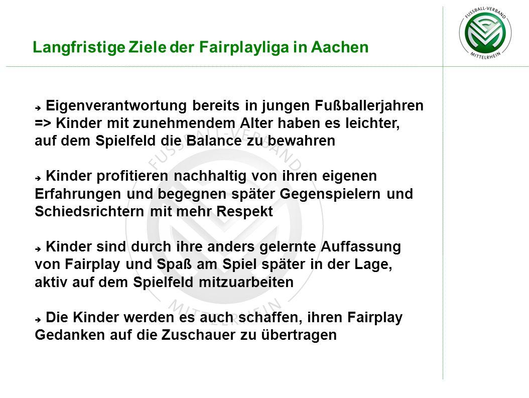 Langfristige Ziele der Fairplayliga in Aachen Eigenverantwortung bereits in jungen Fußballerjahren => Kinder mit zunehmendem Alter haben es leichter,