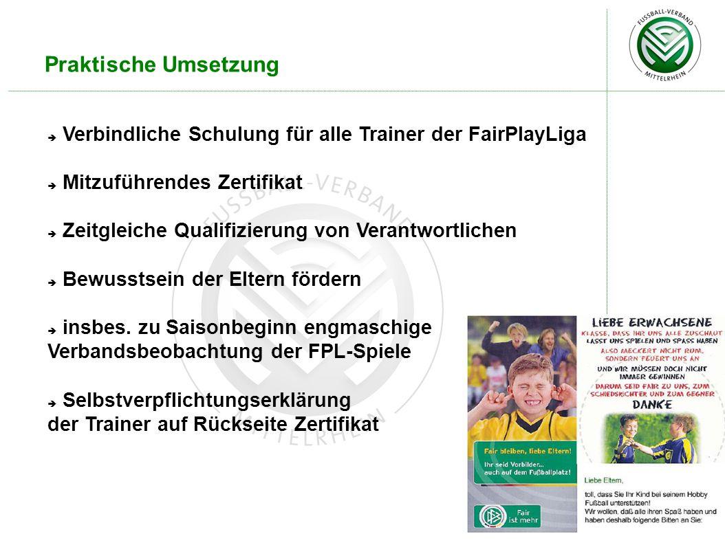 Praktische Umsetzung Verbindliche Schulung für alle Trainer der FairPlayLiga Mitzuführendes Zertifikat Zeitgleiche Qualifizierung von Verantwortlichen Bewusstsein der Eltern fördern insbes.