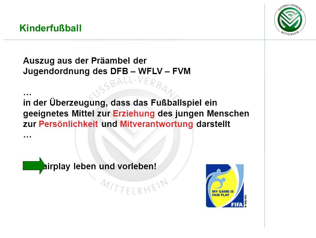 Kinderfußball Auszug aus der Präambel der Jugendordnung des DFB – WFLV – FVM … in der Überzeugung, dass das Fußballspiel ein geeignetes Mittel zur Erz