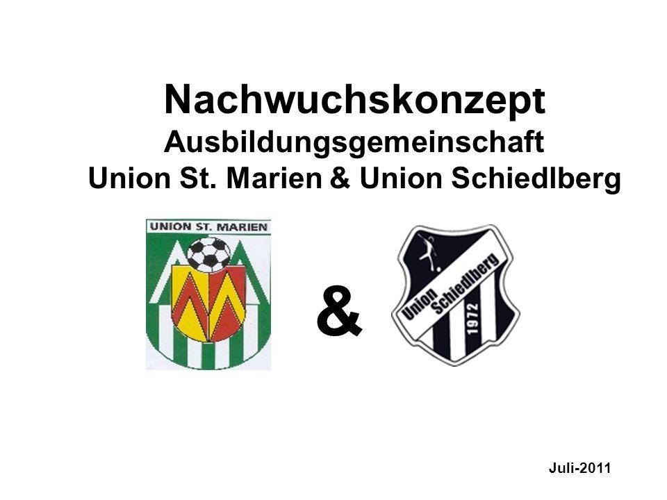 Ausbildungskonzept Kinder & Jugendfußball Nachwuchskonzept Ausbildungsgemeinschaft Union St. Marien & Union Schiedlberg & Juli-2011