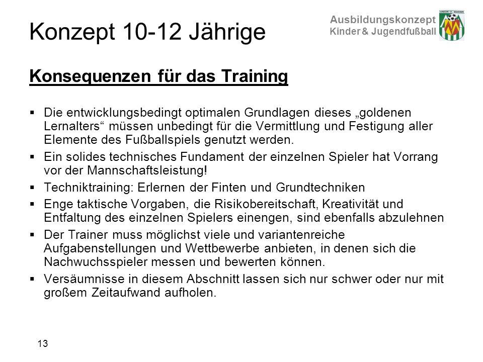 Ausbildungskonzept Kinder & Jugendfußball Konzept 10-12 Jährige Konsequenzen für das Training Die entwicklungsbedingt optimalen Grundlagen dieses gold